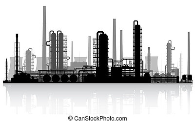 Oil refinery silhouette. - Oil refinery or chemical plant...