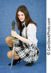Girl armed with the japanese sword