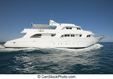 Private motor yacht at sea - Large luxury private motor...