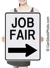 Job Fair - A woman holding a Job Fair poster