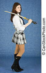 Girl with the japanese sword on blue background
