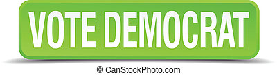 vote democrat green 3d realistic square isolated button
