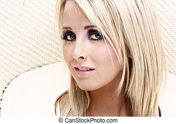 sexy girl - glamourus blonde model headshoot on isolated...