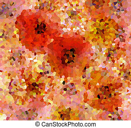 Mosaic background with grunge stained flowers
