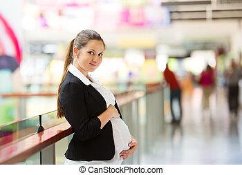 kvinna, inköp, gravid