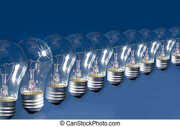 Lightbulb Lineup Illustration - Lightbulbs lined up against...