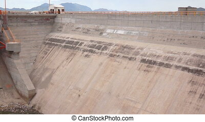 Water Dam Flood Gates Pan - High panning shot of the dry...