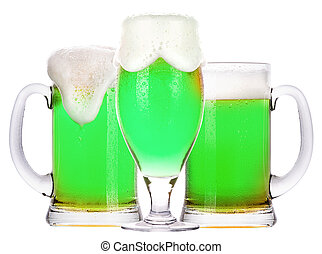 green beer isolated on a white background, classic St....