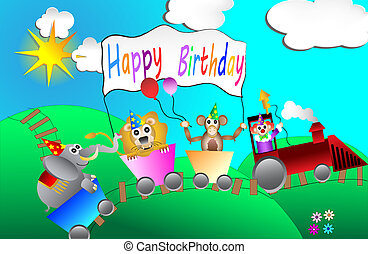 circus birthday party card design