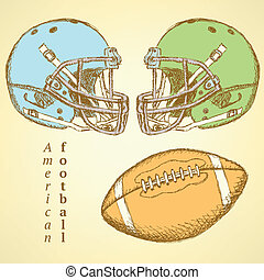 Sketch helmet and american football ball