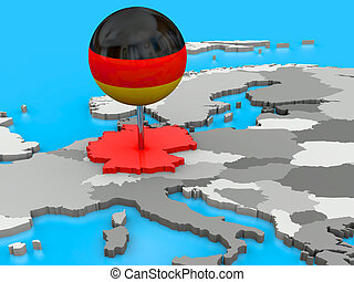 Germany pinned to map of Europe - Red Germany pinned to the...