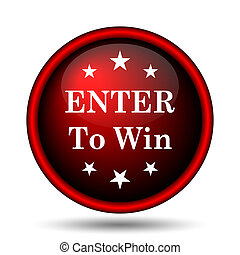 Enter to win icon. Internet button on white background.