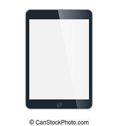 Black business tablet vector in iPad style isolated on white...