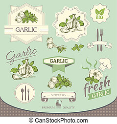 garlic spice, vegetables, background product, label...