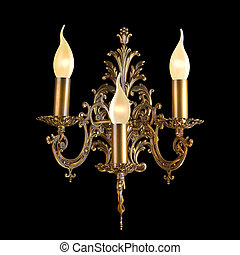 Ornamental vintage wall lamp isolated on black with clipping...