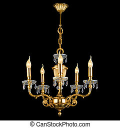 Vintage chandelier isolated on black with clipping path -...