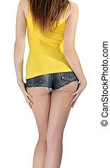 ass woman wearing a short denim shorts