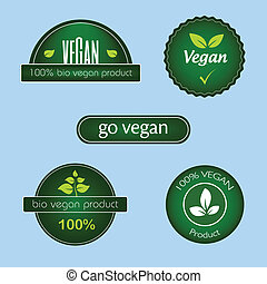 Set of green vegan food labels - Vegan food labels in modern...