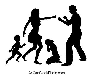 Family Drama - Concept sign for domestic violence with...