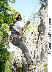 年輕, 人, 攀登, 岩石, 牆