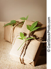 Rustic present boxes - Two rustic present boxes with green...