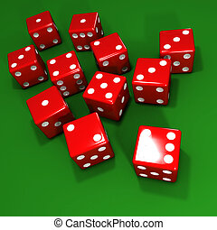 3d Red dice on green background - 3d render of lots of red...