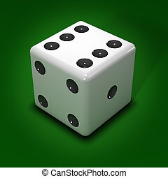 3d White dice on green background