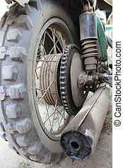 Wheel of the old motorcycle