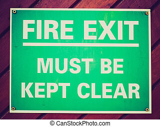 Retro look Fire exit sign - Vintage retro looking Fire exit...