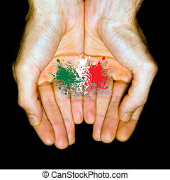Made in Italy, country flag in two hands.