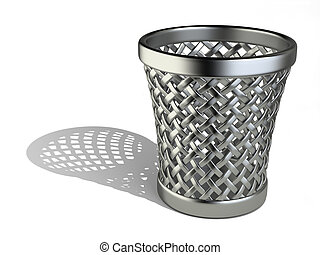 Steel wastepaper basket empty - Metallic wastepaper basket...