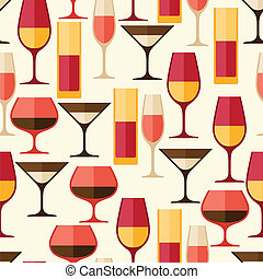 Restaurant or bar seamless pattern with different glasses.