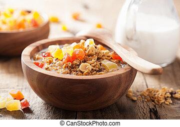 sano, granola, seco, frutas, desayuno