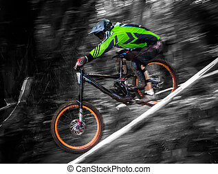 Mountain bike rider in a DH competition