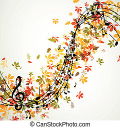 Vector Autumn Music Background with Notes - Vector...
