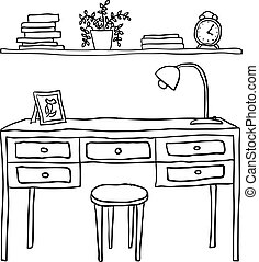 vector illustrated desk and shelf with books
