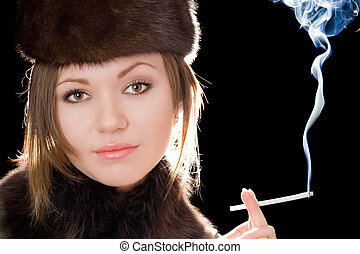 Portrait of the woman with a cigarette