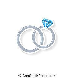 Wedding rings - Silver vector wedding rings icon on white...