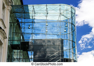 Big glass wall in public place Construction industry