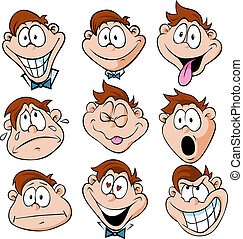 man emotions - illustration of man with many facial...