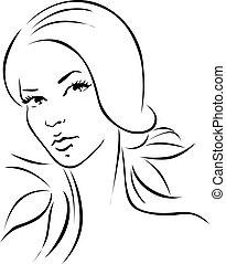 woman illustration - black outline portrait