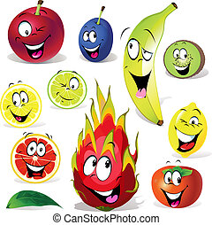 fruit cartoon with many expressions isolated on white...