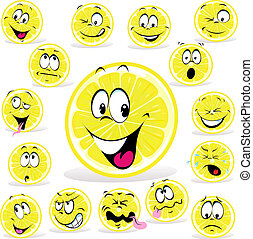lemon cartoon with many expressions isolated on white...