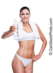 Stay hydrated Beautiful young woman in white bra and panties...