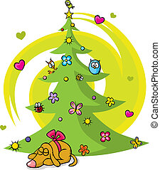 christmas tree with dog, bird, flower, star and butterfly