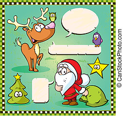 reindeer, owl and santa isolated with speech bubble on vintage frame
