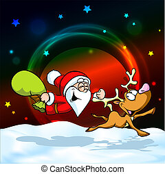 magic christmas eve - funny vector illustration of santa...