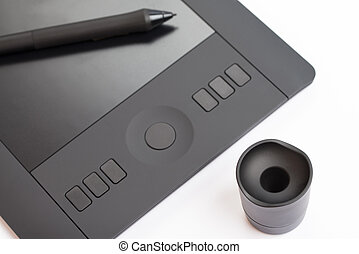 Graphic Tablet With Pen On White Background - Drawing Tablet...