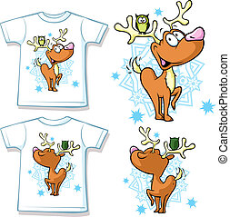 kid shirt with cute reindeer and owl printed - isolated on...