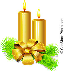golden candle with bow decoration and fir twig isolated in front of white background